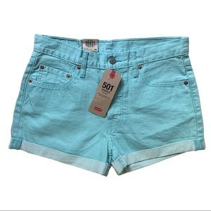 NWT LEVIS 501 Mid Rise Button Fly Roll Cuff Shorts